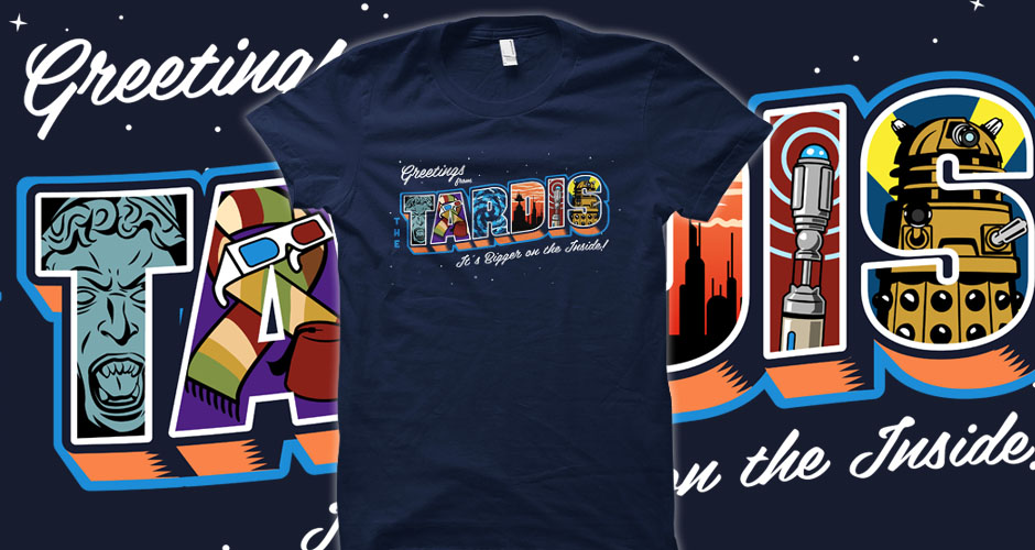 Greetings from the TARDIS postcard t-shirts